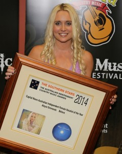 Aleyce is named 'Female Vocalist Of The Year' at The Southern Stars - Australian Independent Country Music Awards during the Mildura Country Music Festival.