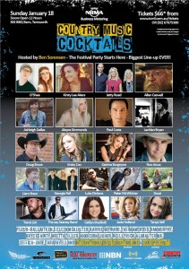 Full line-up for the 2015 Country Music Cocktails event at the Tamworth Country Music Festival