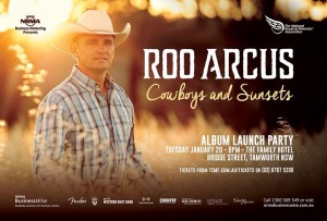 "Roo Arcus launches new album ""Cowboys And Sunsets"" at Tamworth Country Music Festival with thanks to NRMA Business Motoring."